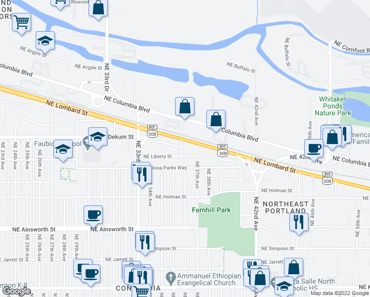 map of restaurants, bars, coffee shops, grocery stores, and more near 6626 Northeast 36th Avenue in Portland