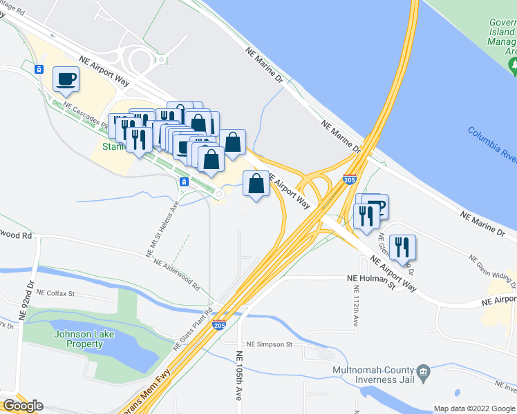 map of restaurants, bars, coffee shops, grocery stores, and more near 10280 Northeast Cascades Parkway in Portland