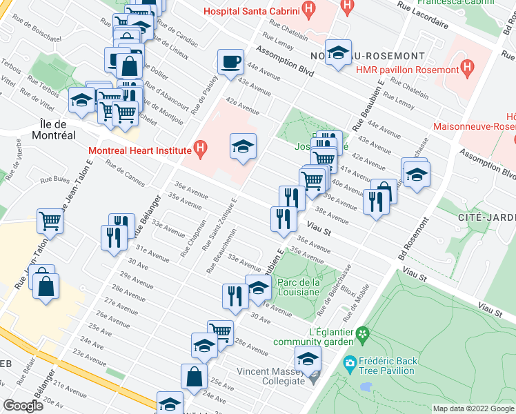 map of restaurants, bars, coffee shops, grocery stores, and more near 6630 Rue Viau in Montréal