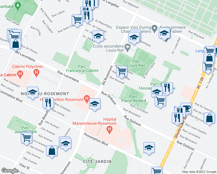 map of restaurants, bars, coffee shops, grocery stores, and more near 5855 Rue Madore in Montréal