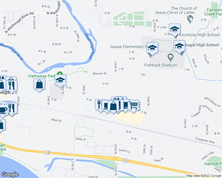 map of restaurants, bars, coffee shops, grocery stores, and more near 3108 H Street in Washougal