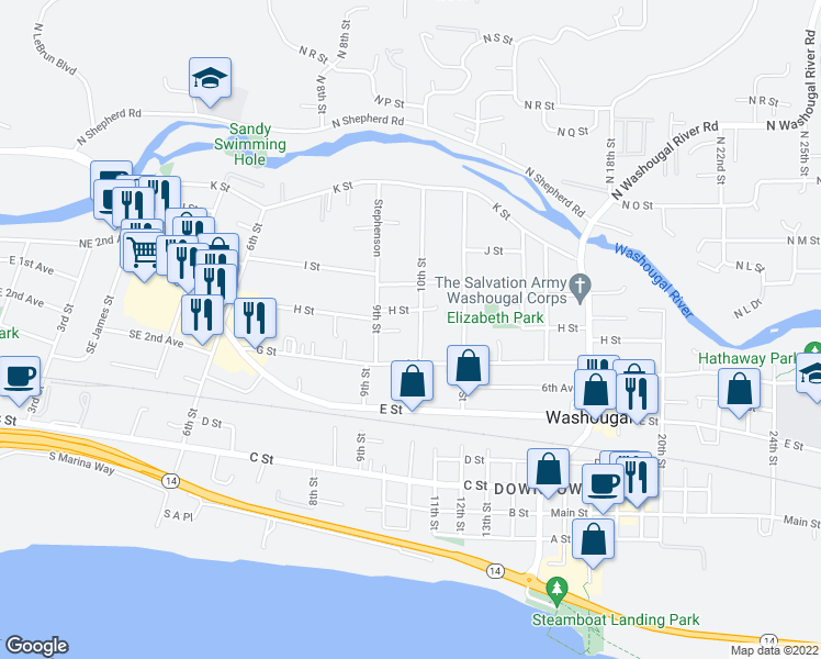 map of restaurants, bars, coffee shops, grocery stores, and more near 757 10th Street in Washougal