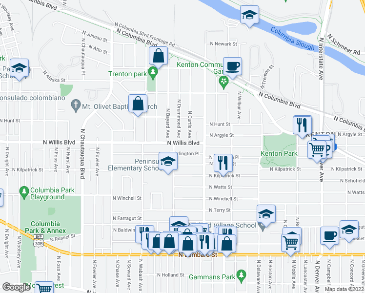 map of restaurants, bars, coffee shops, grocery stores, and more near 3130 North Willis Boulevard in Portland