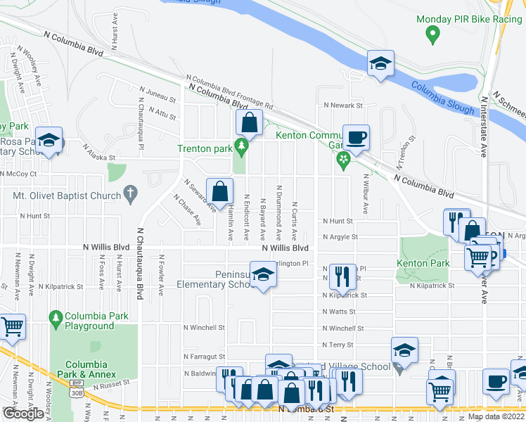 map of restaurants, bars, coffee shops, grocery stores, and more near N Hunt St & N Bayard Ave in Portland