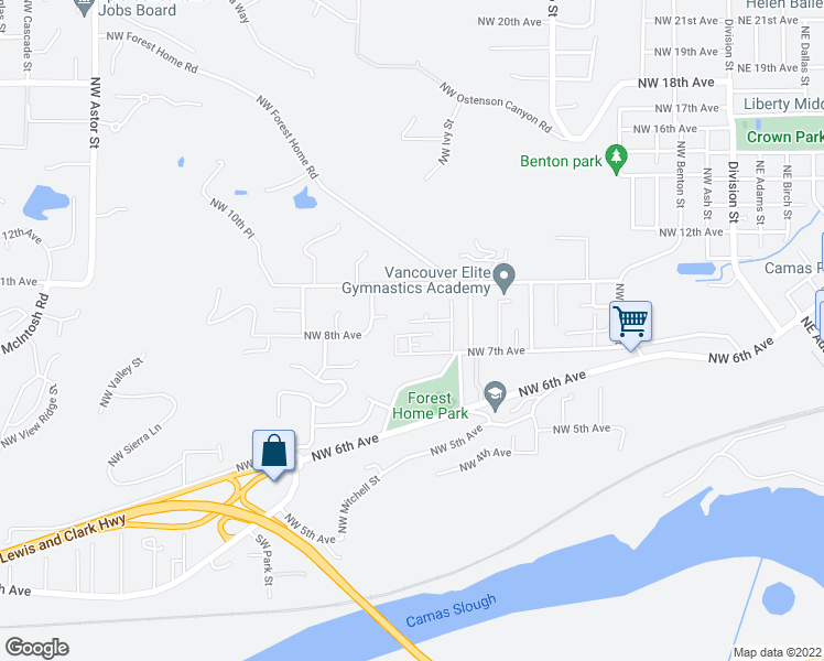 map of restaurants, bars, coffee shops, grocery stores, and more near 1237 Northwest 7th Way in Camas