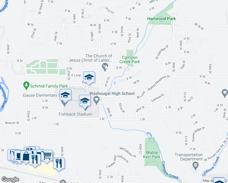 map of restaurants, bars, coffee shops, grocery stores, and more near 1345 42nd Street in Washougal