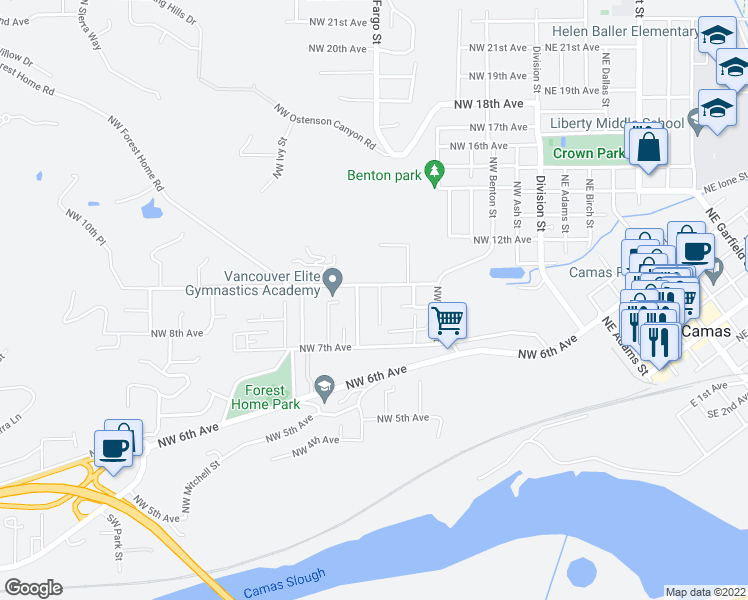 map of restaurants, bars, coffee shops, grocery stores, and more near 911 Northwest Fargo Street in Camas