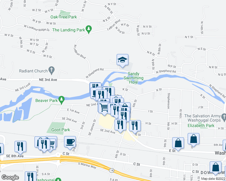 map of restaurants, bars, coffee shops, grocery stores, and more near 420 K Street in Washougal