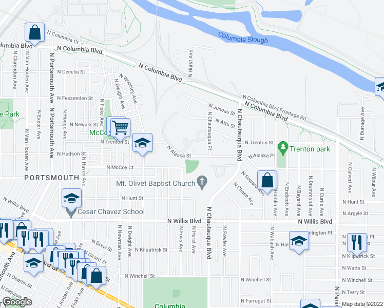 map of restaurants, bars, coffee shops, grocery stores, and more near 4049 North Alaska Street in Portland