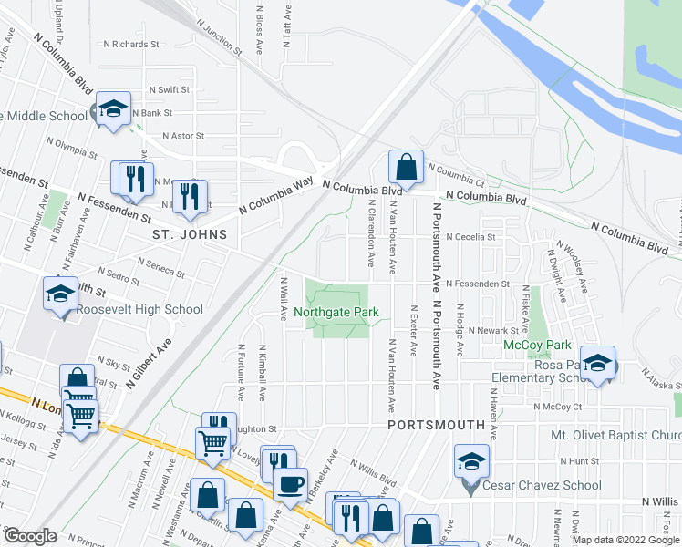 map of restaurants, bars, coffee shops, grocery stores, and more near 5801 North Fessenden Street in Portland