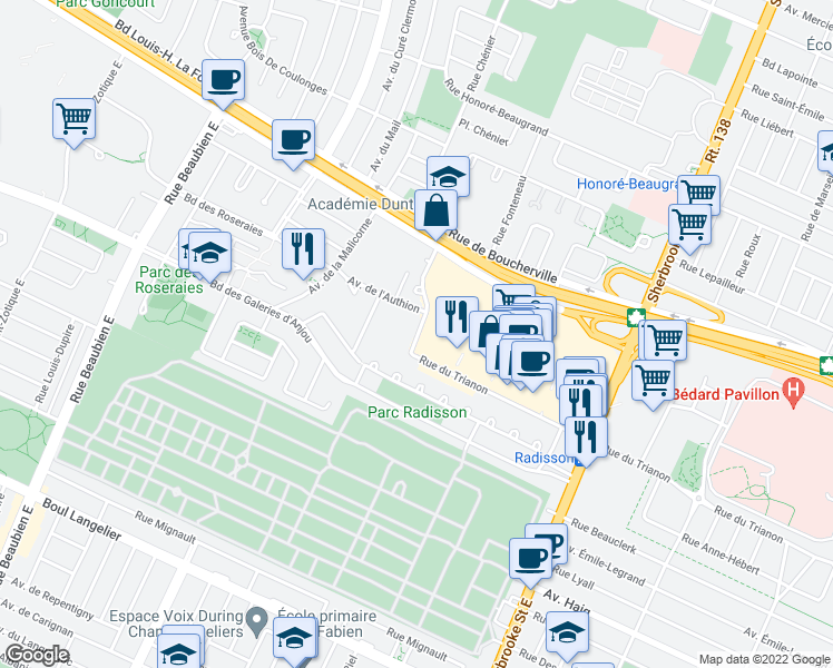 map of restaurants, bars, coffee shops, grocery stores, and more near 7235 Rue Pierre Corneille in Montréal