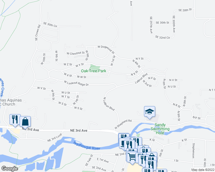 map of restaurants, bars, coffee shops, grocery stores, and more near 232 West Lookout Ridge Drive in Washougal