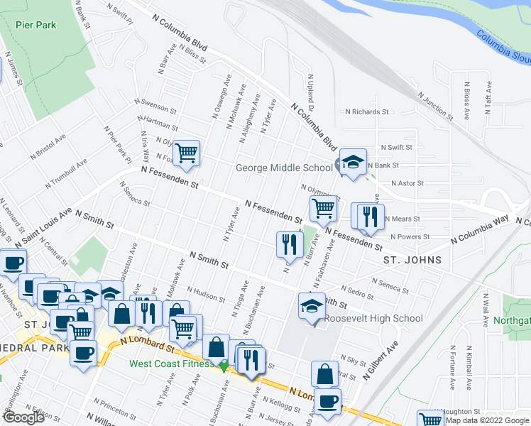 map of restaurants, bars, coffee shops, grocery stores, and more near 7620 North Fessenden Street in Portland