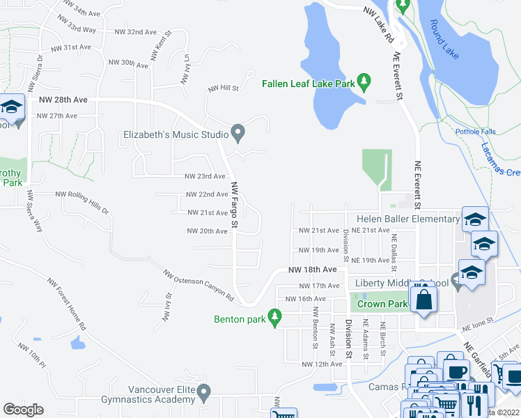 map of restaurants, bars, coffee shops, grocery stores, and more near 2102 Northwest Fargo Loop in Camas