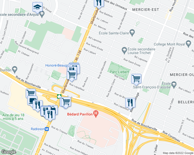 map of restaurants, bars, coffee shops, grocery stores, and more near 3041-3061 Rue Honoré - Beaugrand in Montréal