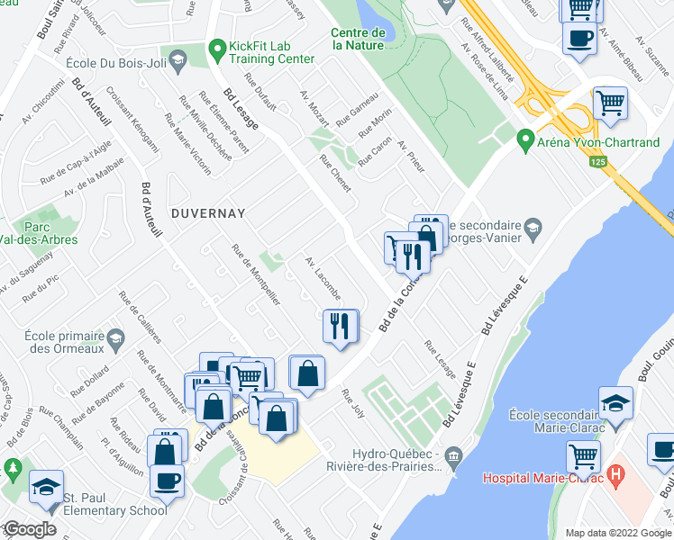 map of restaurants, bars, coffee shops, grocery stores, and more near in Laval