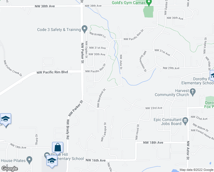 map of restaurants, bars, coffee shops, grocery stores, and more near 3621 Northwest 26th Avenue in Camas