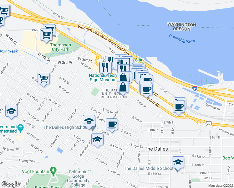 map of restaurants, bars, coffee shops, grocery stores, and more near 511 Washington Street in The Dalles