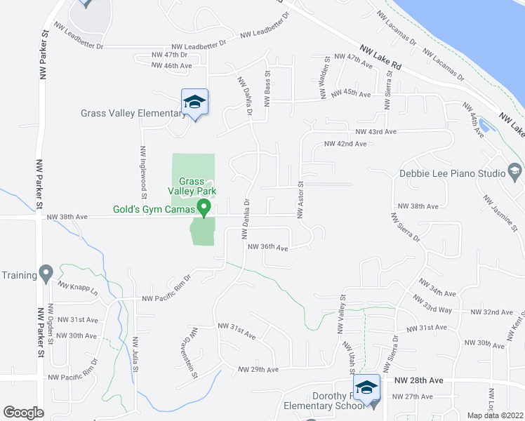 map of restaurants, bars, coffee shops, grocery stores, and more near 3805 Northwest Celebration Lane in Camas