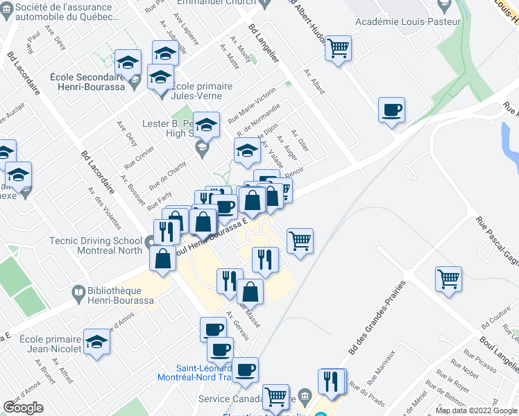 map of restaurants, bars, coffee shops, grocery stores, and more near 6151 Boulevard Henri-Bourassa Est in Montréal