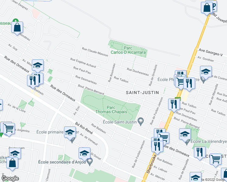 map of restaurants, bars, coffee shops, grocery stores, and more near 5572 Rue Desmarteau in Montréal