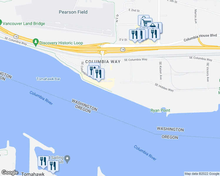 map of restaurants, bars, coffee shops, grocery stores, and more near 2015 Southeast Columbia River Drive in Vancouver