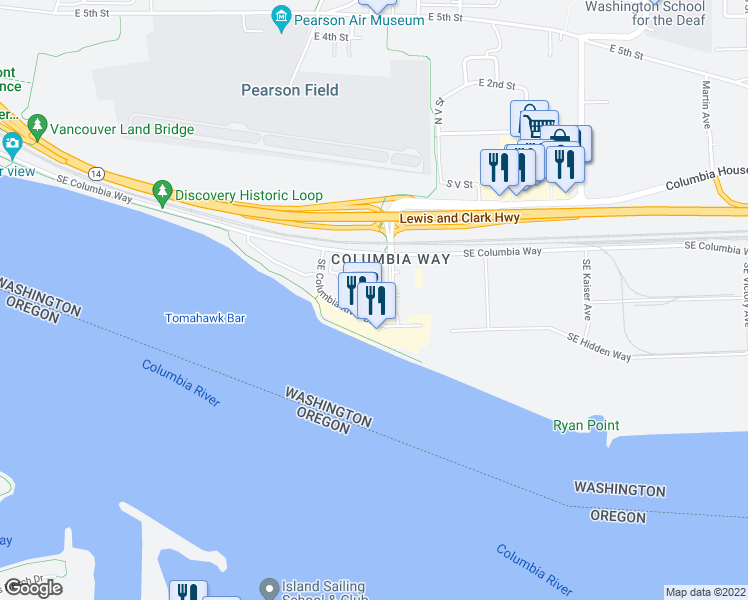 map of restaurants, bars, coffee shops, grocery stores, and more near 729 Southeast Fairwinds Loop in Vancouver