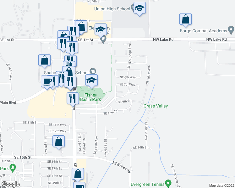 map of restaurants, bars, coffee shops, grocery stores, and more near 807 Southeast 197th Avenue in Camas