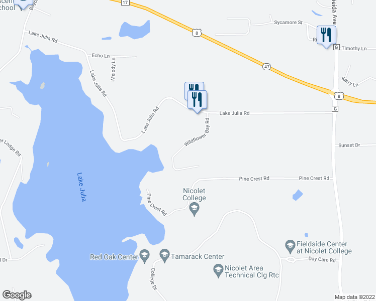 map of restaurants, bars, coffee shops, grocery stores, and more near 3176 Wild Flower Bay Road in Rhinelander