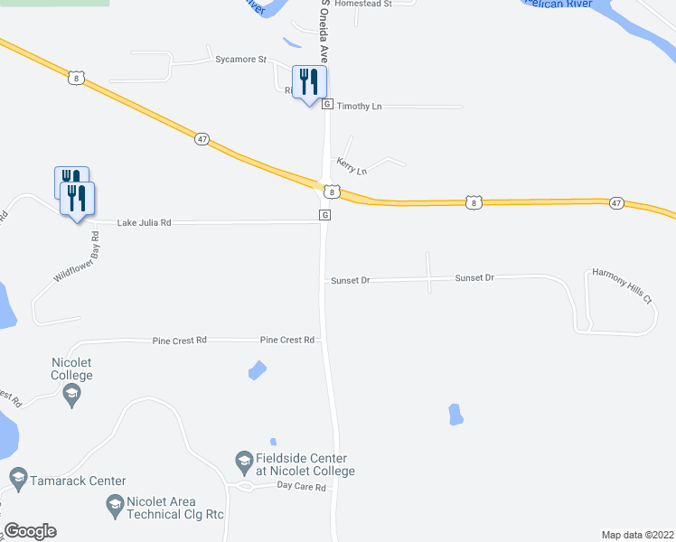 map of restaurants, bars, coffee shops, grocery stores, and more near 3140 County Highway G in Rhinelander