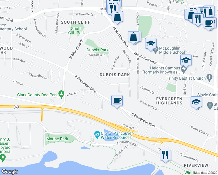 map of restaurants, bars, coffee shops, grocery stores, and more near 5109 Dubois Drive in Vancouver