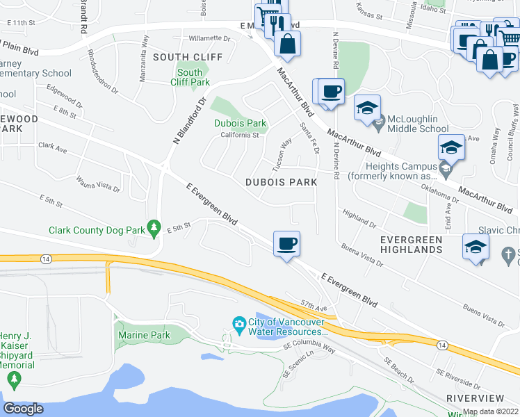 map of restaurants, bars, coffee shops, grocery stores, and more near 5101 Dubois Drive in Vancouver