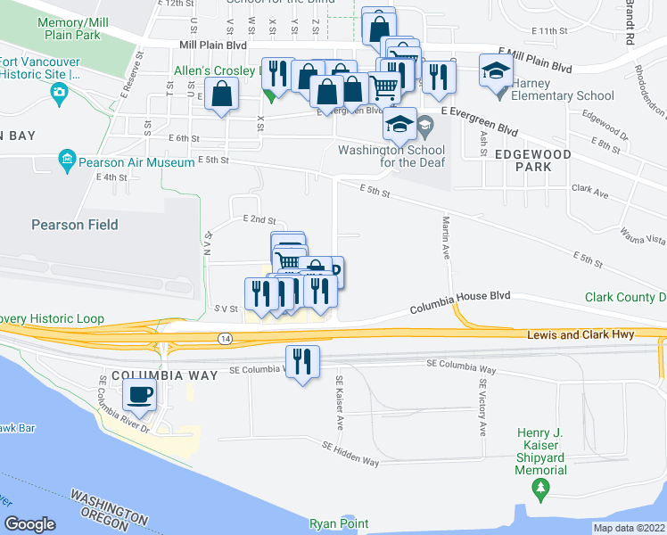 map of restaurants, bars, coffee shops, grocery stores, and more near 2889 East 1st Street in Vancouver