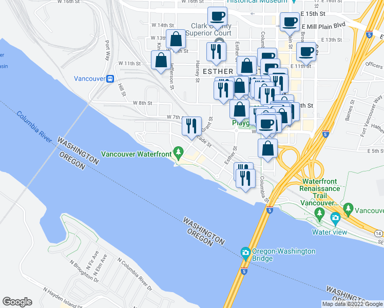 map of restaurants, bars, coffee shops, grocery stores, and more near 700 Waterfront Way in Vancouver