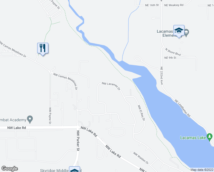 map of restaurants, bars, coffee shops, grocery stores, and more near 3220 Northwest Lacamas Drive in Camas