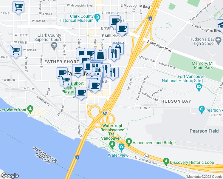 map of restaurants, bars, coffee shops, grocery stores, and more near 319 East 7th Street in Vancouver