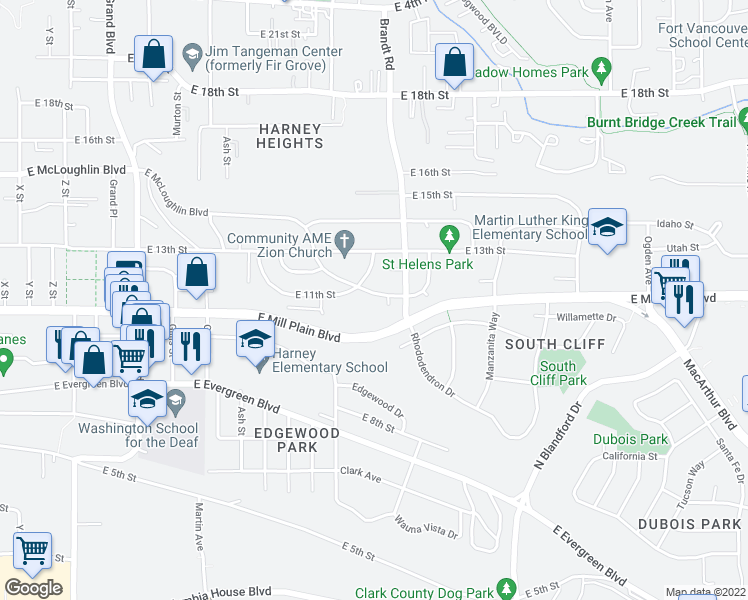map of restaurants, bars, coffee shops, grocery stores, and more near 3805 East McLoughlin Boulevard in Vancouver