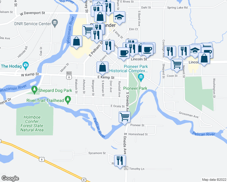 map of restaurants, bars, coffee shops, grocery stores, and more near 809 Dorr Avenue in Rhinelander