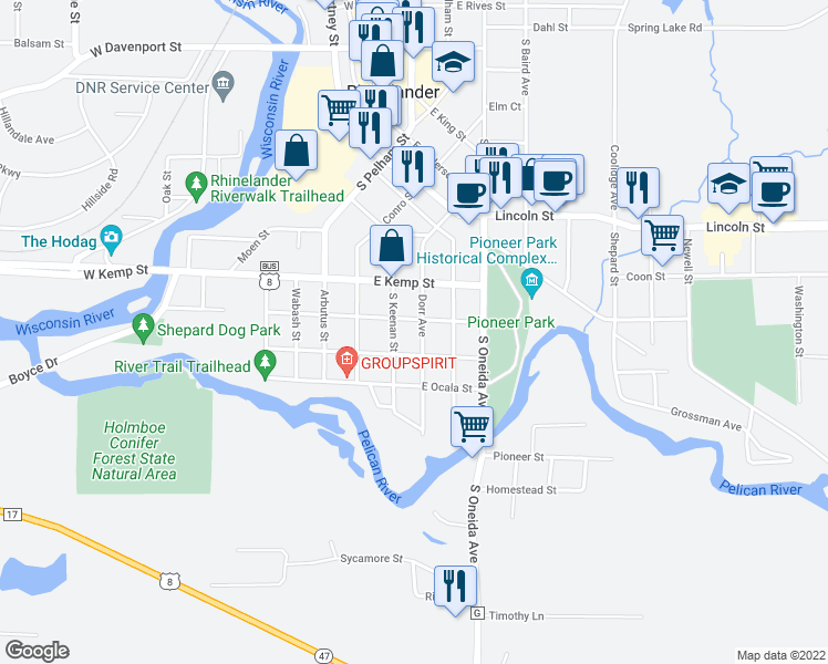 map of restaurants, bars, coffee shops, grocery stores, and more near 810 Dorr Avenue in Rhinelander