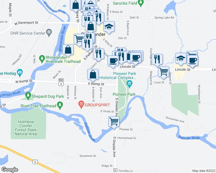 map of restaurants, bars, coffee shops, grocery stores, and more near 721 Randall Avenue in Rhinelander