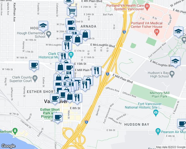 map of restaurants, bars, coffee shops, grocery stores, and more near 412 East 13th Street in Vancouver