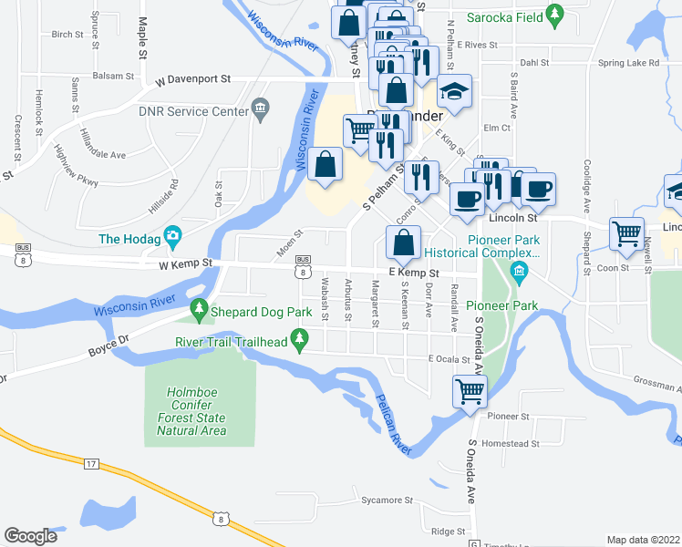 map of restaurants, bars, coffee shops, grocery stores, and more near 704 Arbutus Street in Rhinelander