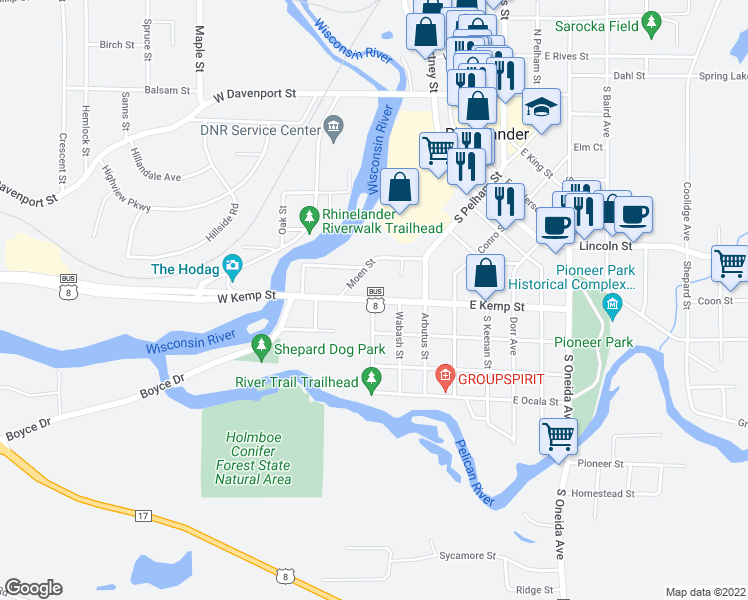 map of restaurants, bars, coffee shops, grocery stores, and more near 103 West Kemp Street in Rhinelander