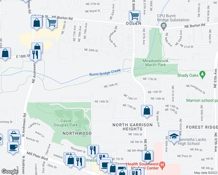 map of restaurants, bars, coffee shops, grocery stores, and more near 8201 Northeast 16th Street in Vancouver
