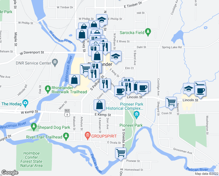 map of restaurants, bars, coffee shops, grocery stores, and more near 315 Conro Street in Rhinelander