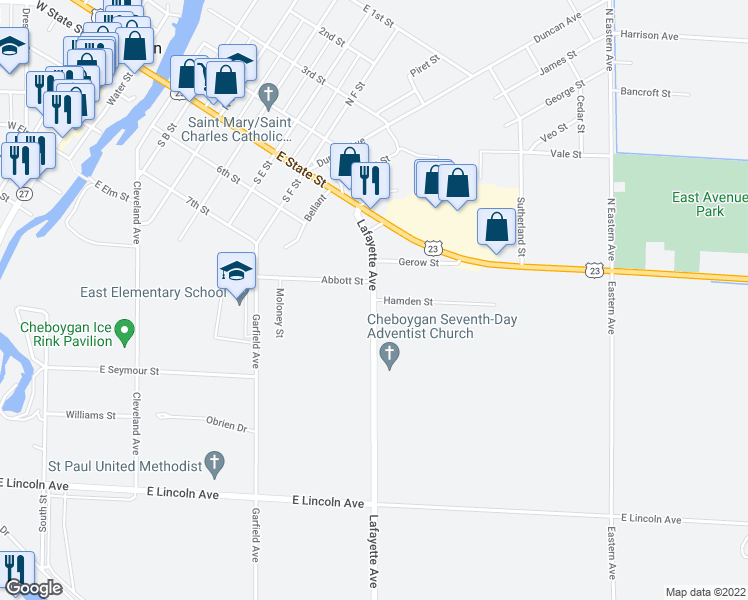 map of restaurants, bars, coffee shops, grocery stores, and more near Hamden Street in Cheboygan