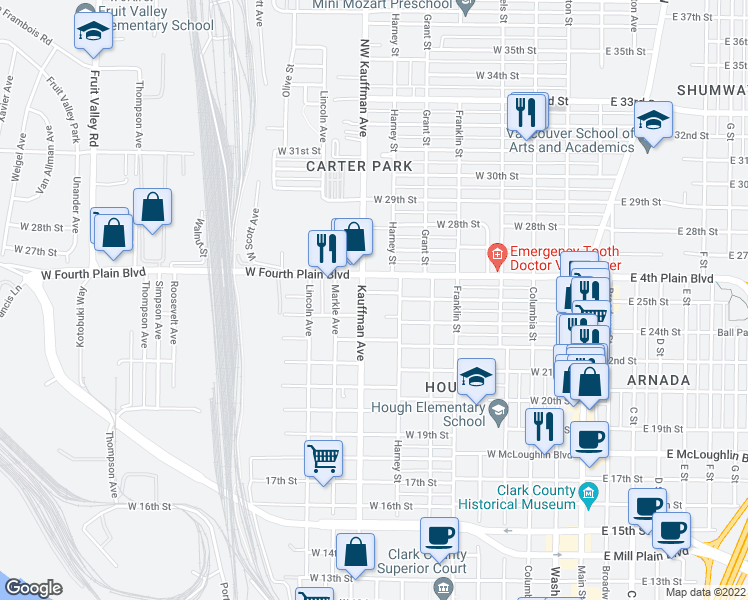 map of restaurants, bars, coffee shops, grocery stores, and more near 2409 Kauffman Avenue in Vancouver