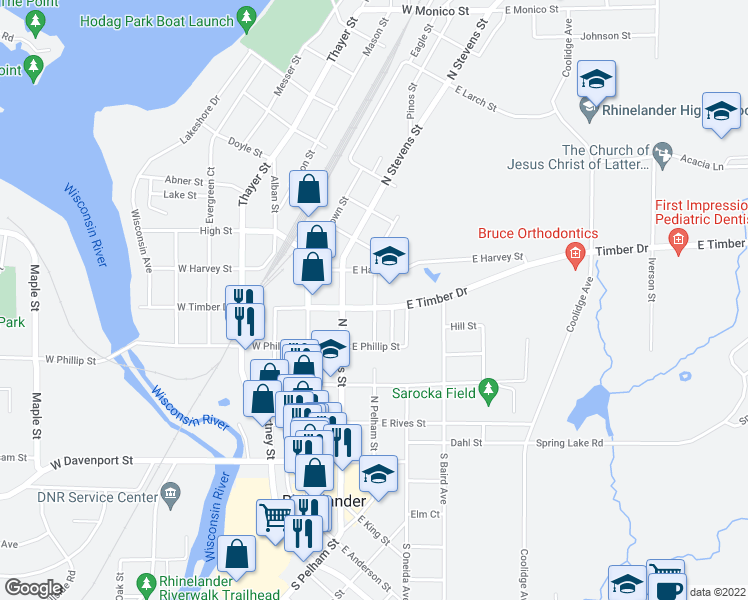map of restaurants, bars, coffee shops, grocery stores, and more near 2-98 East Timber Drive in Rhinelander