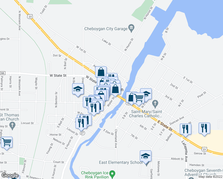 map of restaurants, bars, coffee shops, grocery stores, and more near 11283 North Straits Highway in Cheboygan