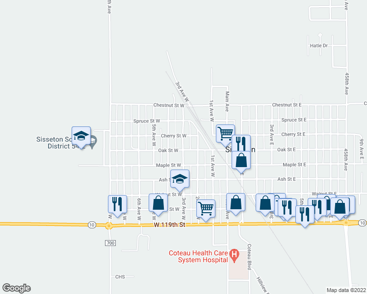 map of restaurants, bars, coffee shops, grocery stores, and more near 308 Oak Street West in Sisseton